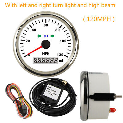 85mm GPS Speedometer With light Odometer 120MPH For Car Boat Waterproof Red LED