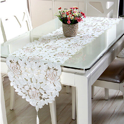 Oval White Embroidered Lace Floral Table Runner/Topper Wedding Party Decor
