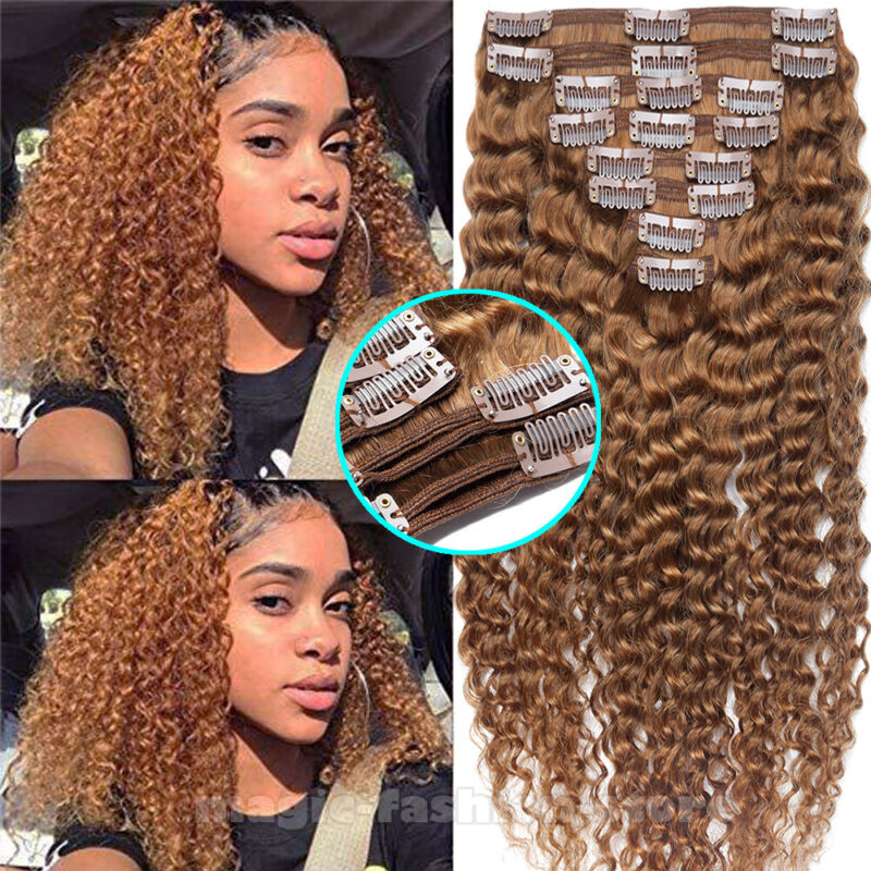 Afro Kinky Clip In Hair Thick Head 8PCS