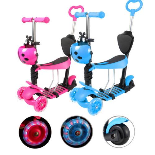 3in1 Kinderroller LED Räder Scooter Cityroller 3-Rad verstellbare Höhe mit Sitz