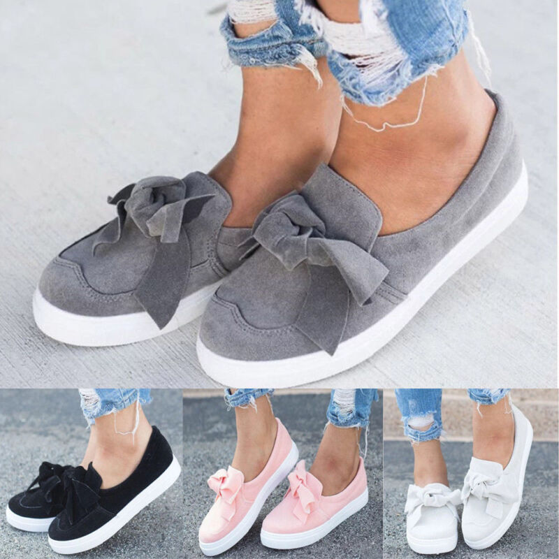 online for sale running shoes wide range Women Bowknot Sneakers Summer Slip On Flat Shoes Trainers ...