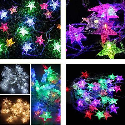10 20 LED Battery Power Fairy Light String Star Lamp Party Xmas Tree Ornament