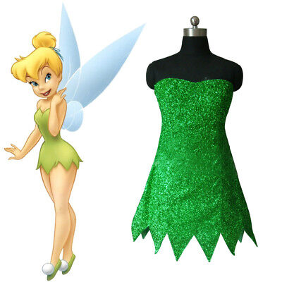 Tinkerbell Cosplay Dress (Tinker Bell Costume Green Sequins Cosplay Dress Leaves Tube Top Skirt Role)