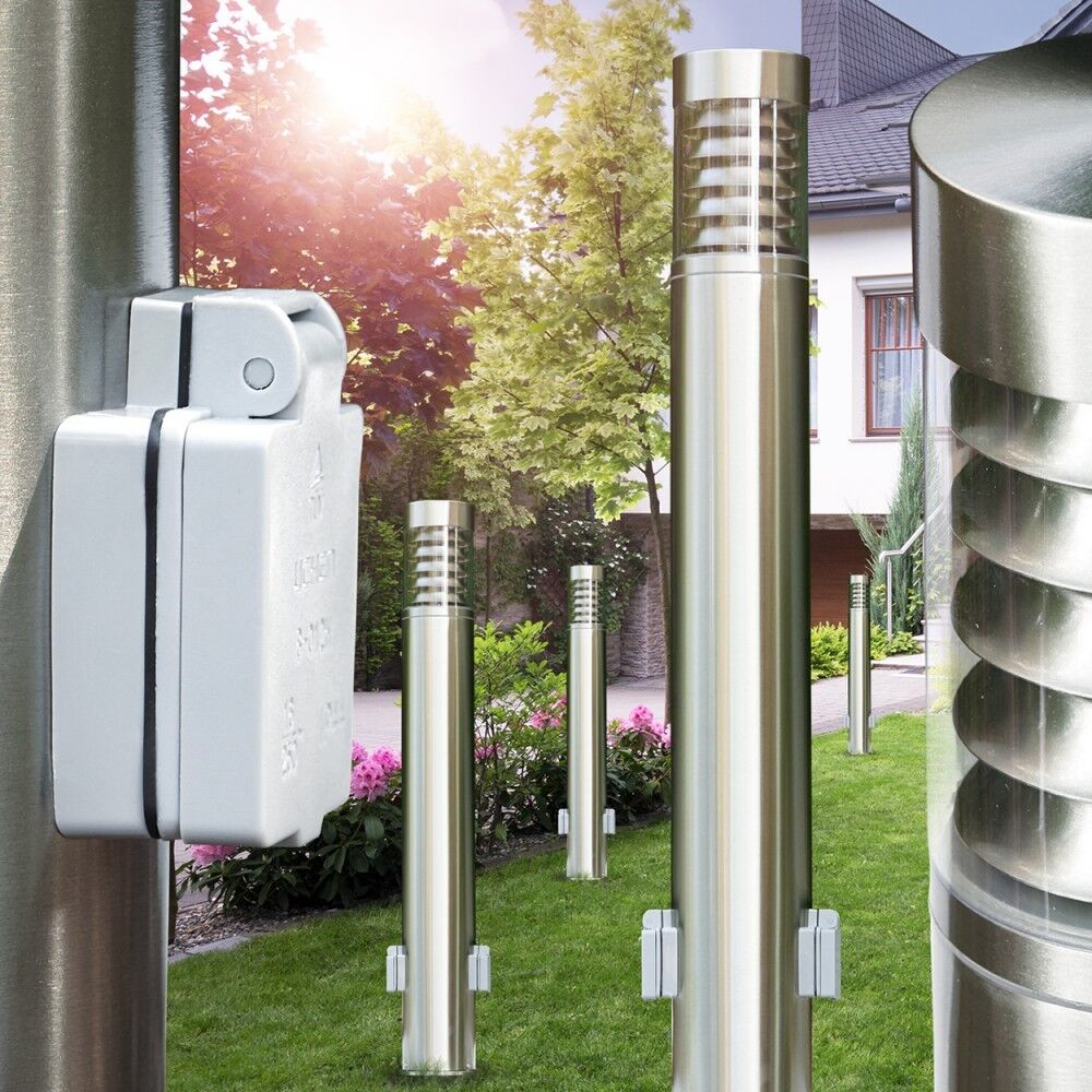 Wegeleuchte mit 2 Steckdosen Garten Wege Lampe Edelstahl Hof Außen Steh Leuchte