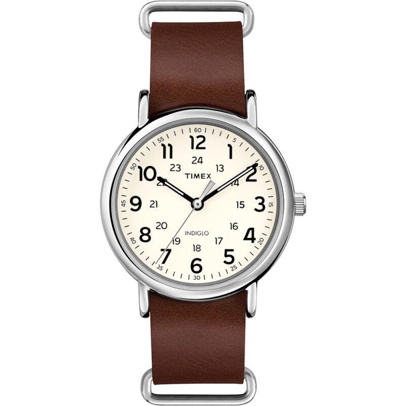 Timex Weekender® Slip-Thru Watch - Brown Leather Strap  T2P495JV