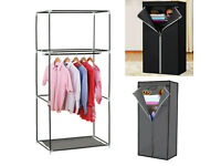 Double Fabric Canvas Clothes Hanging Storage Organiser Wardrobe Cupboard with Shelves £8