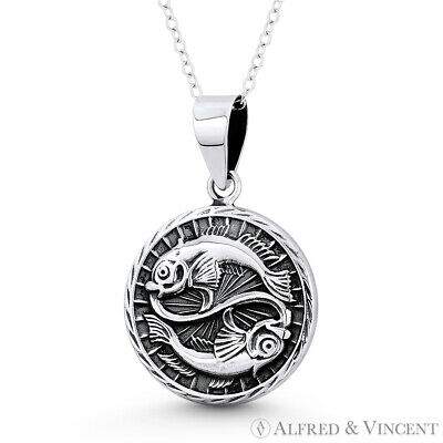 Pisces the Fish Zodiac Sign Animal Pendant Luck Necklace in .925 Sterling Silver