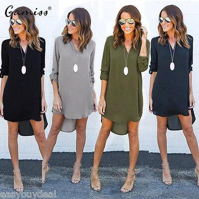 Women Casual Blouse Chiffon Long Sleeve Fashion T Shirt Loose Short Dress Tops