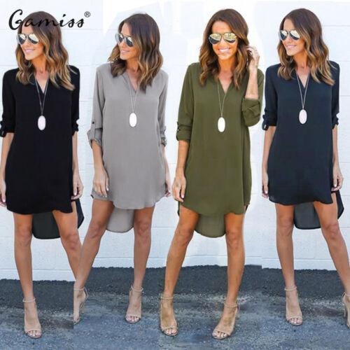 US SALE Women Blouse Chiffon Long Sleeve Fashion T Shirt Loose Short Dress Tops