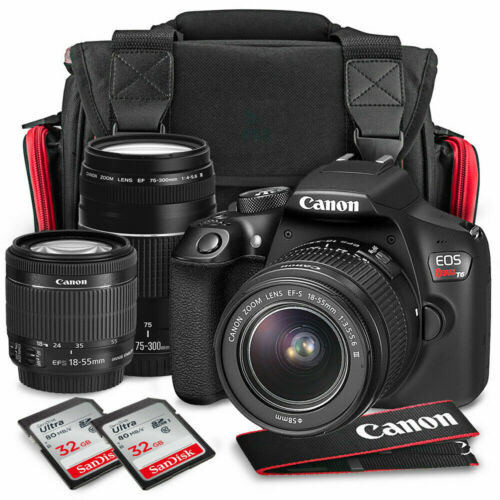 NEW Canon EOS Rebel T6 DSLR Camera BUNDLE EF-S 18-55 IS II/ EF 75-300MM W/BAG