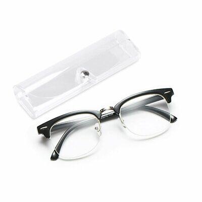 No Line Clear Lens Reading Glasses Retro Metal Square Frame Anti Glare (Anti Glare Clear Glasses)