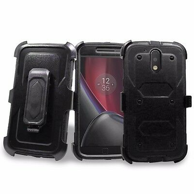 Case Built in Screen Protector Kickstand Belt Clip For Motorola Moto G4/G4 (Best Moto G4 Cases)
