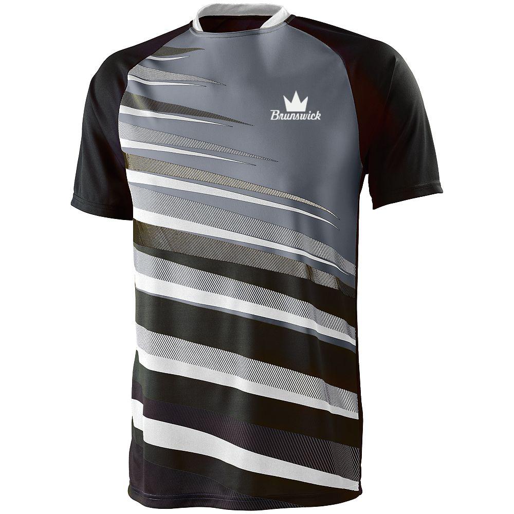 Brunswick Men's Fanatic Performance Jersey Bowling Shirt Dri-fit Black Graphite