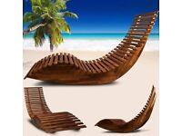 **FREE UK DELIVERY** 50% OFF! Ergonomic Designer Wooden Sun Lounger - BRAND NEW