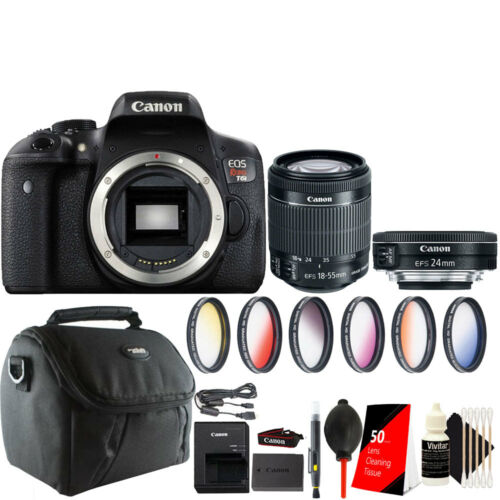Canon EOS Rebel T6i / 750D DSLR Camera 18-55mm + 24mm 2.8 STM Lens Accessory Kit