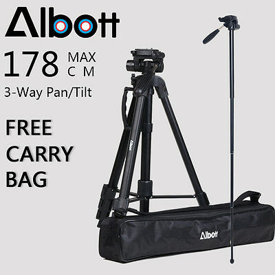 Professional Tripod Pan Head Digital Camera DSLR Camcorder for Sony Nikon Canon