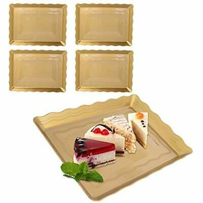 Plastic Serving Platters - 9 X 13 Gold Plastic Serving Trays 4 Pack Platters Disposable For Parties