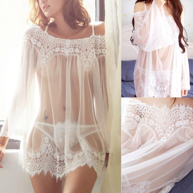 Women's Lingerie Babydoll Sleepwear Underwear Lace Dress Nightwear +G-String