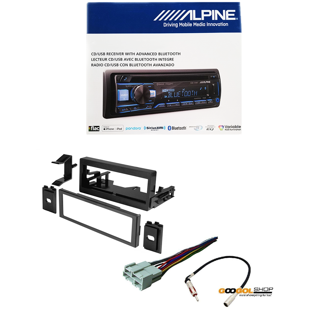 Alpine CDE-172BT Car Stereo With Dash Kit Wire Harness And A