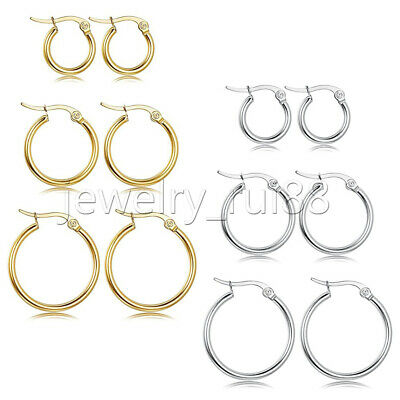 3 Pairs Women Girl Gold Silver Stainless Steel Huggie Hoop Earrings Set Gift