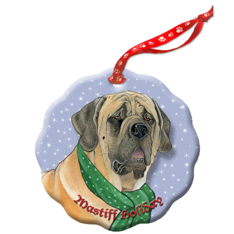 Mastiff Holiday Porcelain Christmas Tree Ornament
