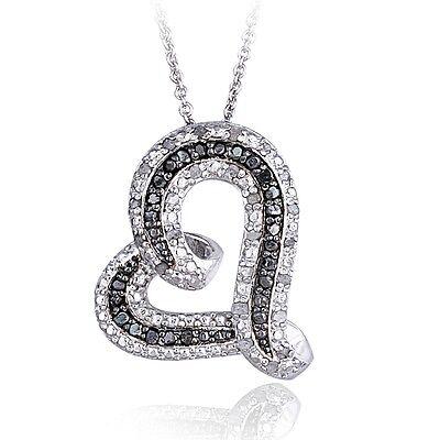 Diamond Floating Heart Necklace (0.50ct TDW Black & White Diamond Floating Heart)