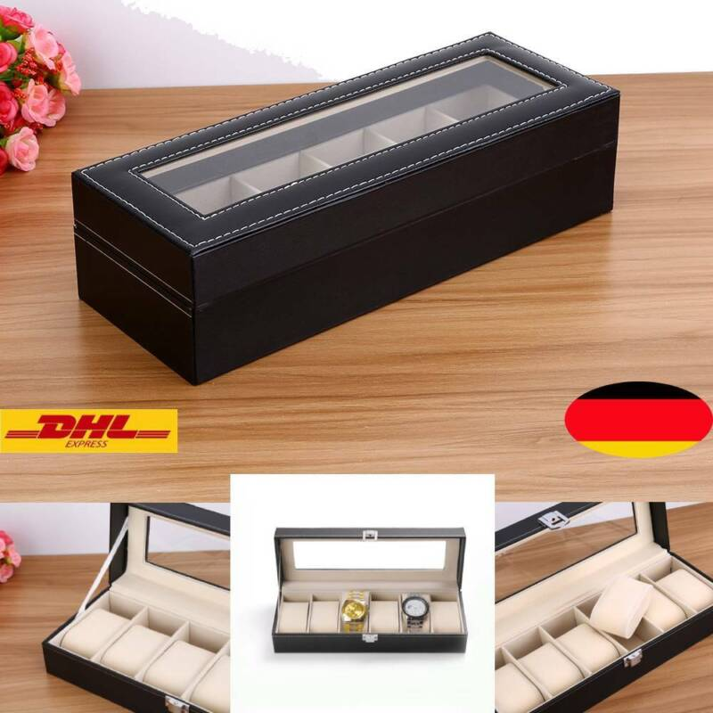 6 Grids Leder Uhrenbox Uhrenkoffer Aufbewahrungsbox Uhrentruhe Kasten Schwarz