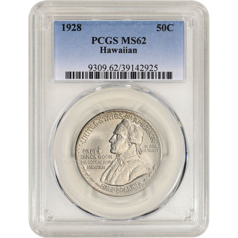 1928 US Hawaiian Sesquicentennial Silver Commemorative Half Dollar - PCGS MS62
