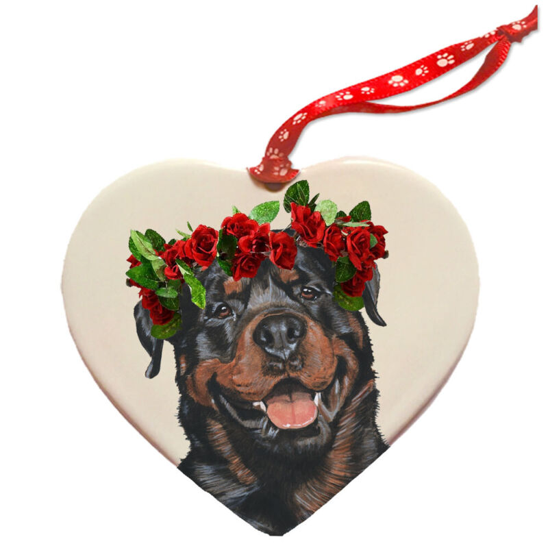Rottweiler Rottie Dog Porcelain Valentine