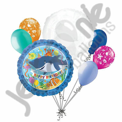 7 pc Ocean Buddies Happy Birthday Balloon Bouquet Fish Aquatic Party Sea Shark](Happy Birthday Shark)