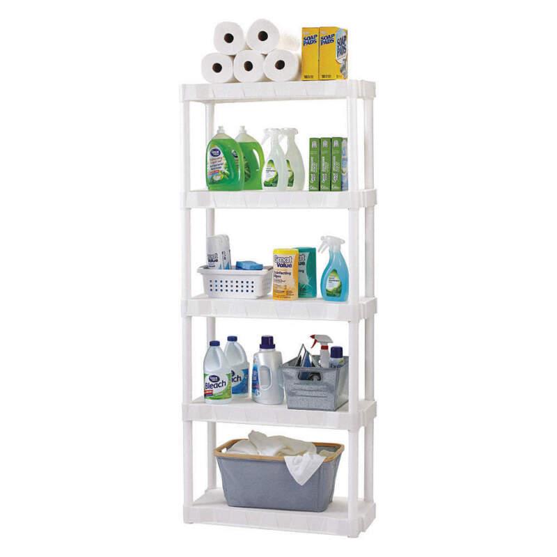 "PLANO MOLDING 950505 Plastic Shelving,Open,74-3/4""H,5 Shelf"