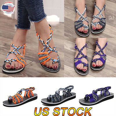 Womens Strappy Slip On Gladiator Low Flat Heel Summer Flat Sandals Shoes Size - Slipper Heel