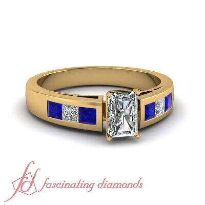 3/4 Ct Blue Sapphire And Diamond Engagement Rings Radiant and Princess Cut GIA