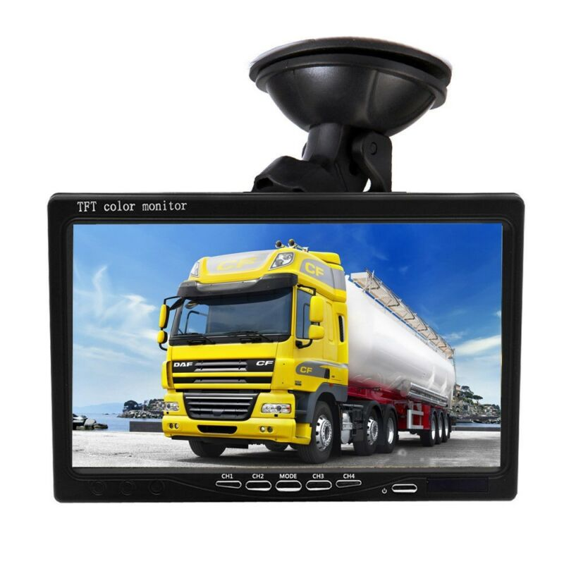 "HD 7/"" Quad Split Monitor 4x Front Side Backup Rear View Camera For RV Truck Bus"