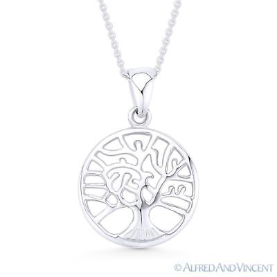 Tree-of-Life Charm 16mm Circle Pendant & Chain Necklace in .925 Sterling Silver