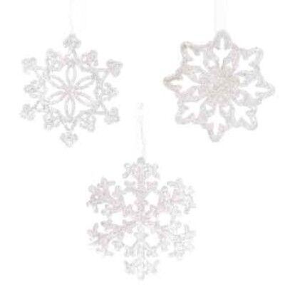 Eis Dekoration (Winter Weihnachten Dekoration Eiskristalle Schneeflocken weiß Glitzer 3-er Set)