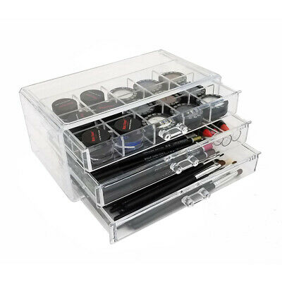 NEW! DELUXE MAKEUP/JEWELRY ORGANIZER - ACRYLIC 3 DRAWER COSMETIC DISPLAY SET