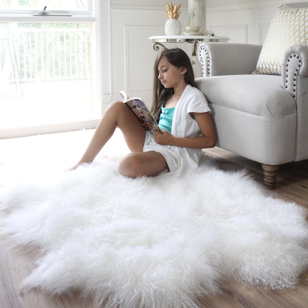 Details About Snow White Real Mongolian Fur Rug Hide Pelt Sheepskin Fluffy Wool