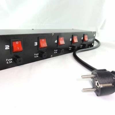 """6-fach 19"""" Strom Verteiler Power Manager Steckdosenleiste mit Einzelsicherung"""