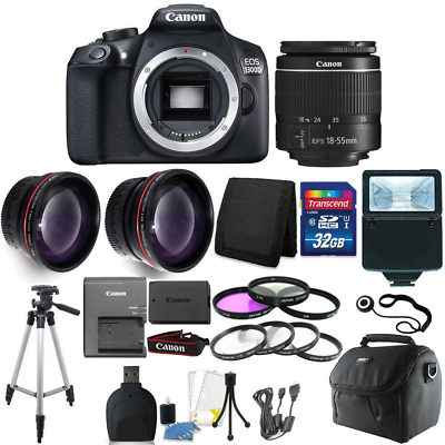 Canon EOS 1300D/T6 18MP DSLR Camera + 18-55mm Lens + 32GB