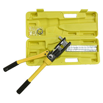 16 Ton Hydraulic Wire Coupler Crimper Battery Cable Lug Crimping Tool w/Dies