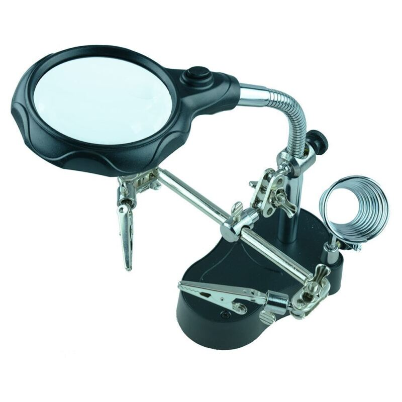 Deluxe Helping Hand with Magnifier and Light Soldering Solder Tool