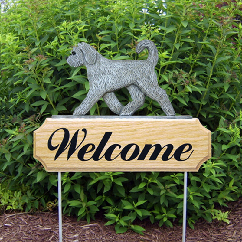 Goldendoodle Wood Welcome Outdoor Sign Gray