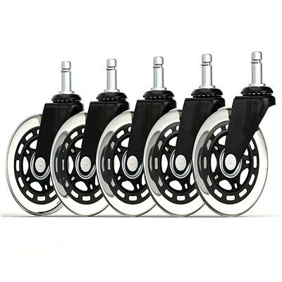 Set Of 5 Office Chair Caster Rubber Swivel Wheel Replacement Heavy Duty