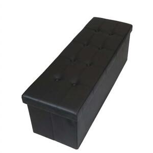 Used Otto  Ben 45 inch Button Design Memory foam Seat Folding Storage Ottoman Bench with Faux Leather, Black Condtion...