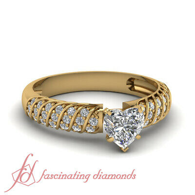 1.25 Ct Diamond Rings For Women With Heart GIA Certified Diamond Ring Size 5-11