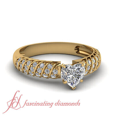 1.25 Ct Diamond Rings For Women With Heart GIA Certified Dia