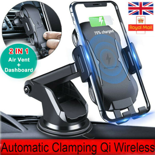 Qi Wireless Car Charger 360 Windscreen Mount Dashboard Mobile Phone Stand Holder