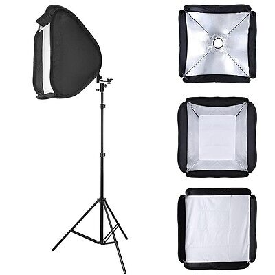 "Photo Studio 24"" Softbox w/7ft Light Stand Kit F Photography Speedlight w/Case"