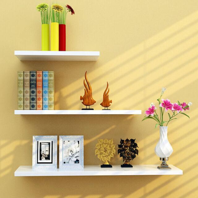 Set of 3 White High Gloss Floating Wall Mounted Display Shelf Bookshelf Storage